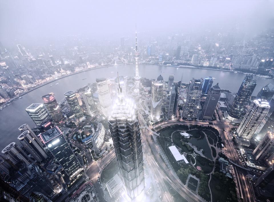 Blick von oben auf eine Großstadt.