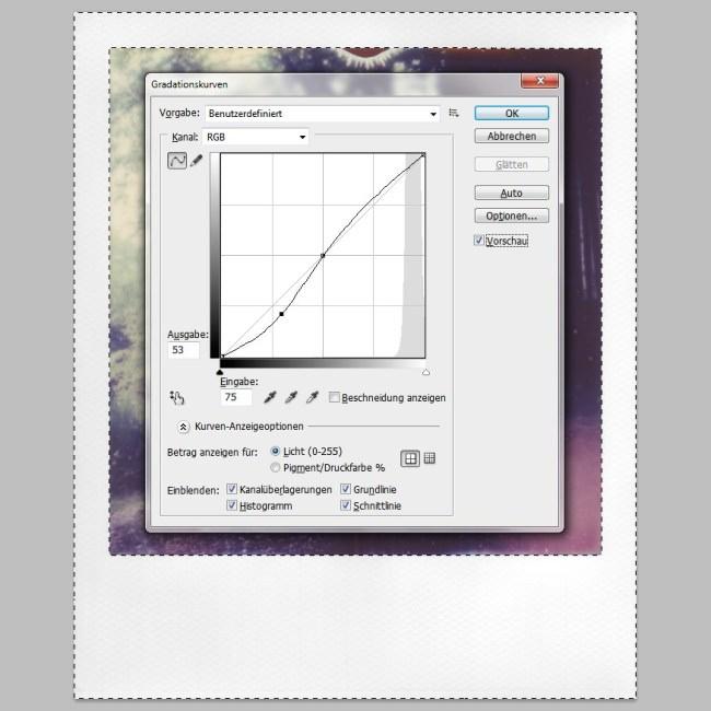 Screenshot von Gradationskurven in Photoshop.