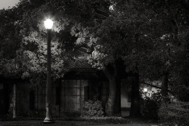 Nachtszene mit Straßenlaterne vor einem Haus.