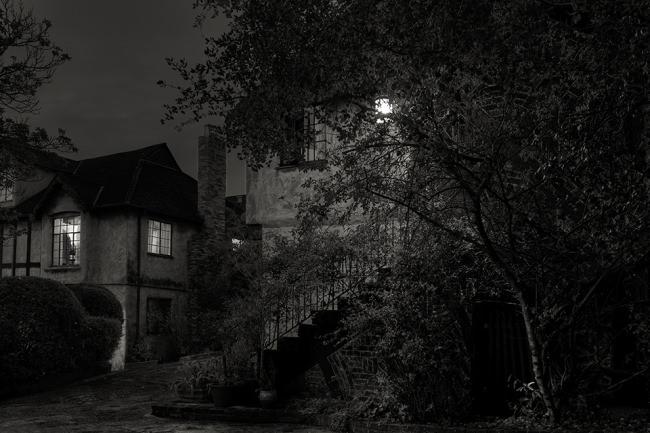 Nachtszene mit einer Straßenlaterne vor einem Haus.
