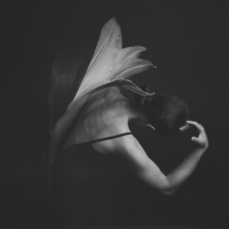 Doppelbelichtung einer Frau und einer weißen Blüte.