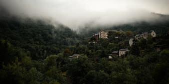Häuser an einem bewaldeten Hang in tief hängenden Wolken.