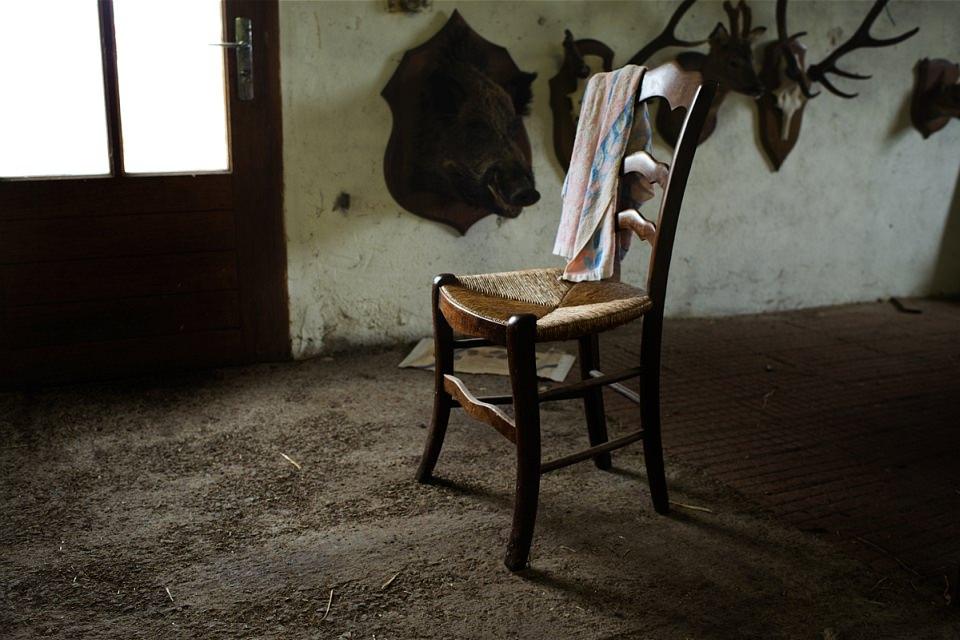 Auf einem Stuhl vor einer Wand mit Geweihen liegt ein Küchentuch.