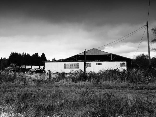 Blick auf ein entferntes Gebäude.