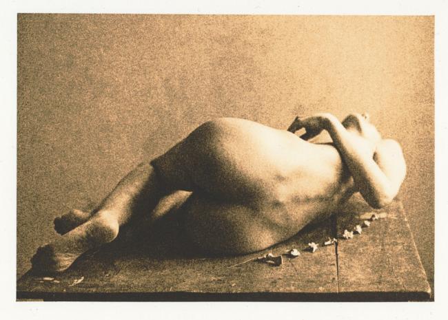 Eine nackte Frau auf dem Tisch. Hinter ihr liegen kleine Knöchlein eines Fuchses.