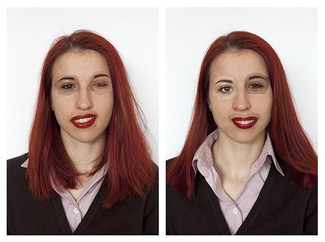 Zwei Gesichter der Paula Muhr mit ausgeschnittenen und neu eingefügten Augen und Mund.