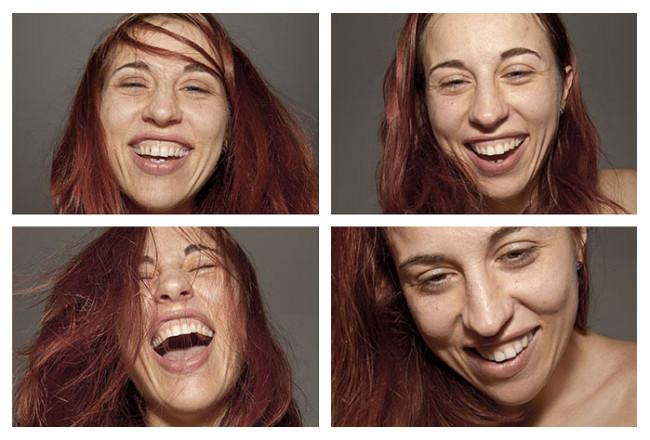 Vier Gesichter der Paula Muhr in verschiedenen Gefühlsregungen
