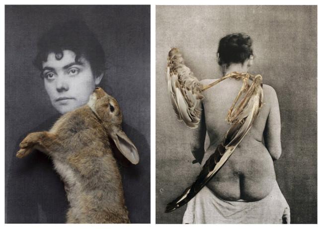 Die Vorder- und die Rückansicht einer Frau. Auf ihren Körpern tote Tiere.