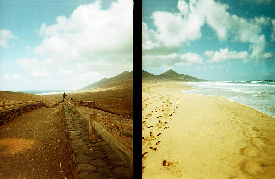Zwei Bilder, die viel Himmel zeigen und in Meeresnähe aufgenommen wurden.