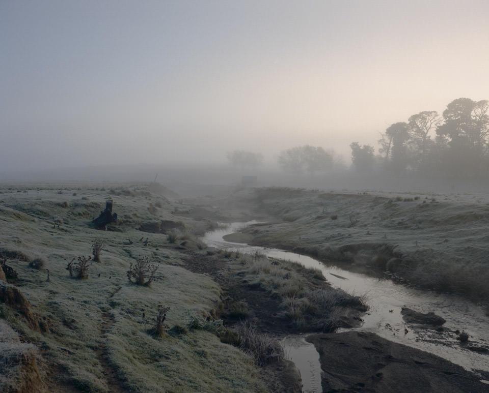 Flusslandschaft in blau-rosa Morgenlicht