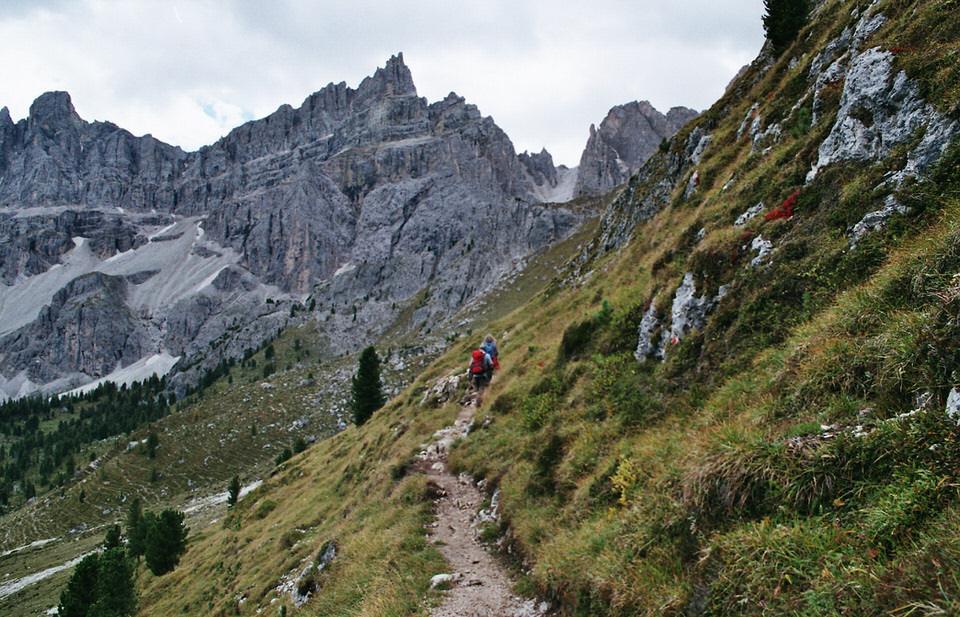 Ein schmaler Wanderweg in den Bergen.