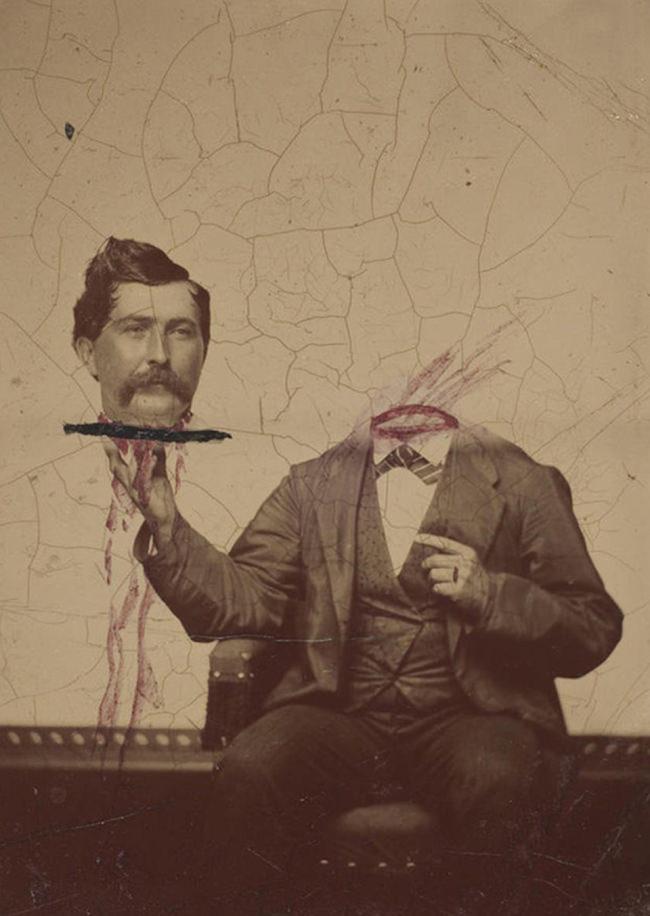 Ein Mann trägt seinen Kopf auf einem Tablett.