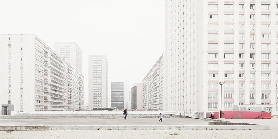 "Blick in die Pariser Hochhaussiedlung ""Les Olympiades"""