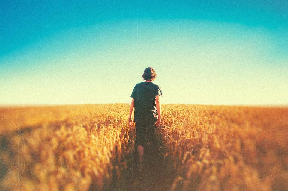Ein Junge geht durch ein Kornfeld.