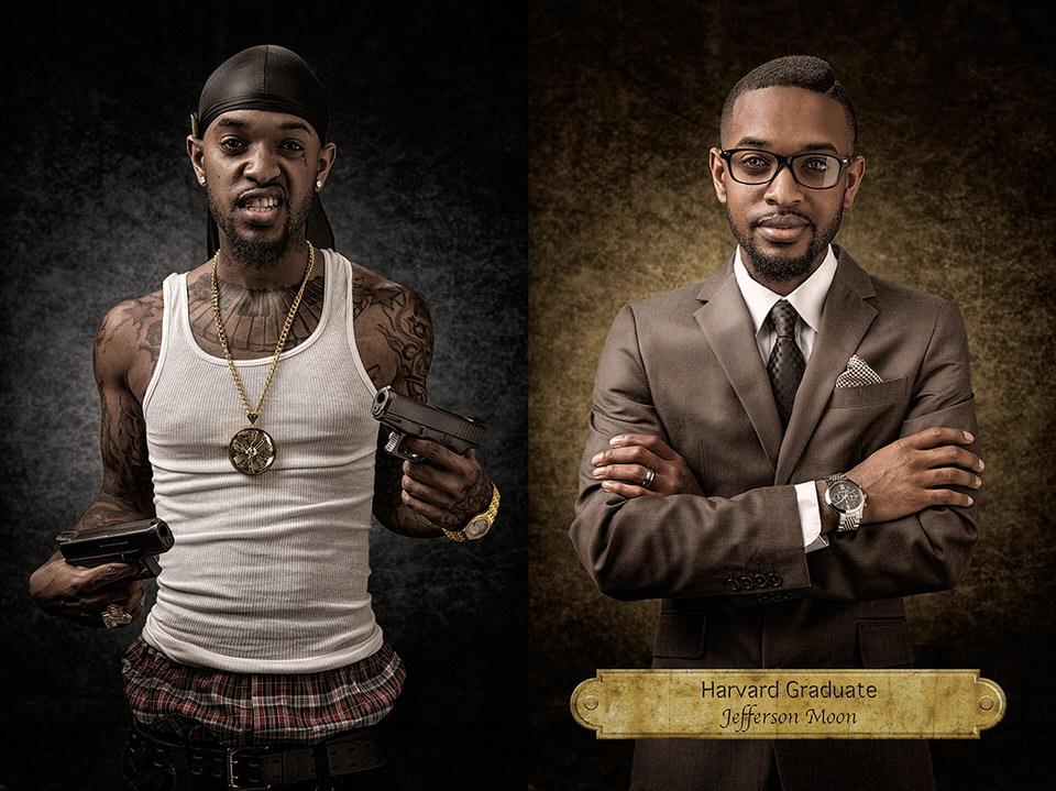 Mann als Gangster und Mann im Anzug