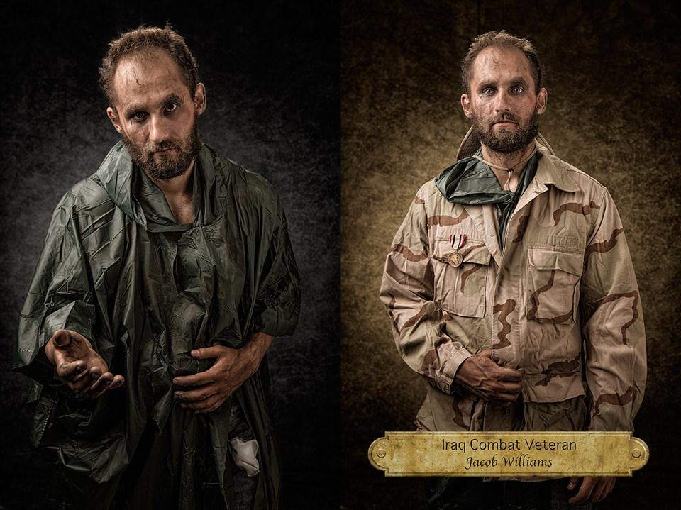 Mann als Obdachloser und Mann als Veteran