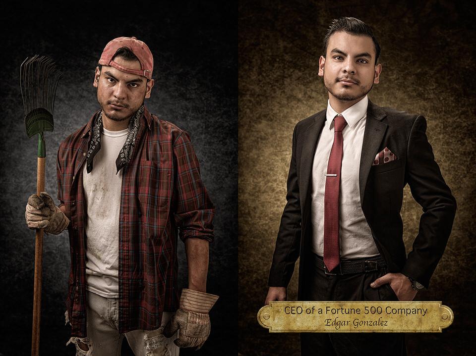 Mann mit Arbeitskleidung und Mann mit Anzug