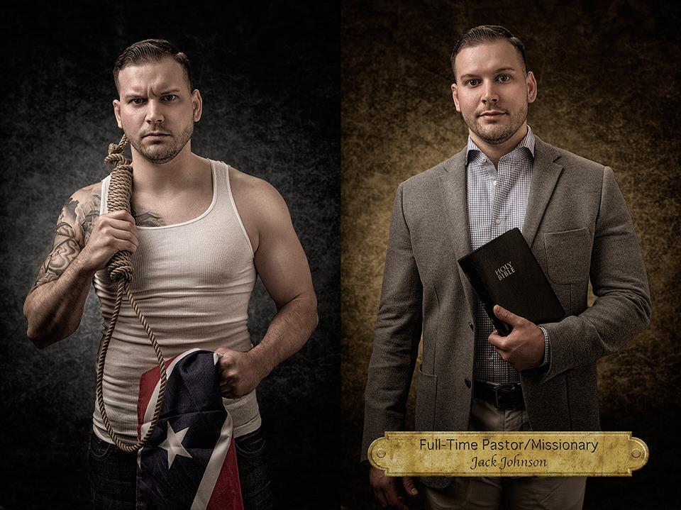 Mann mit Strick und Flagge und Mann als Pastor