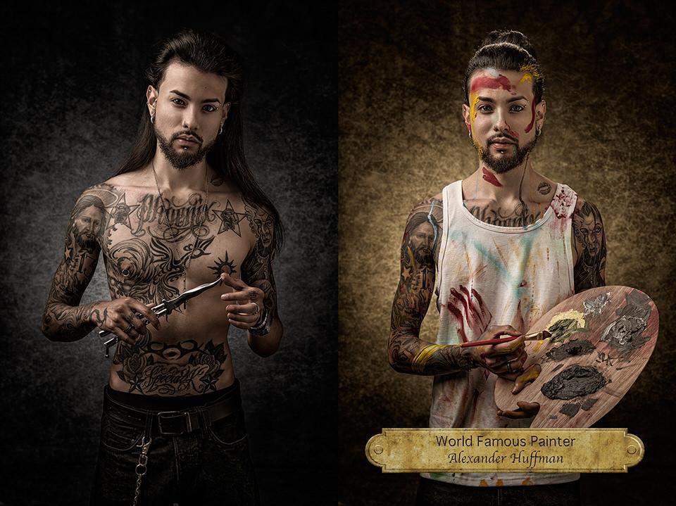 Mann mit Tattoos und Messer und Mann mit Farbe als Künstler