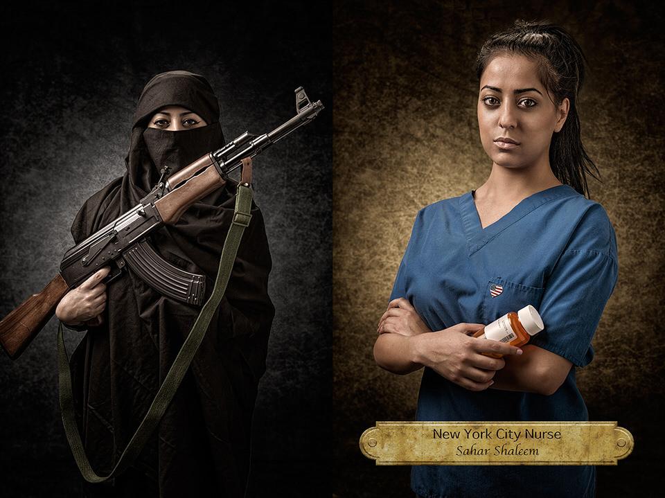 Frau mit Burka und Maschinengewehr und als Krankenschwester