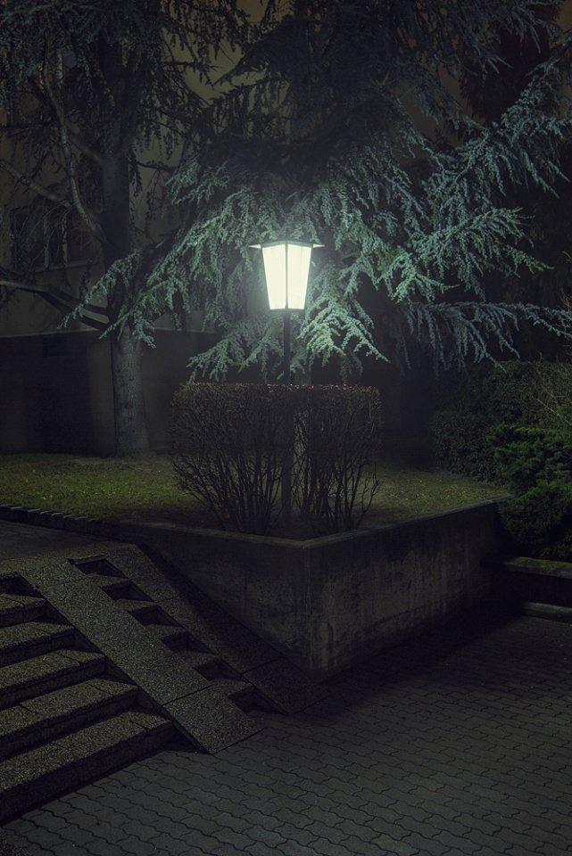 In der Nacht leuchtende Laterne an einer begrünten Ecke.