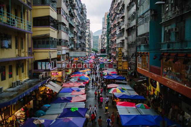 Straßenansicht auf den Markt