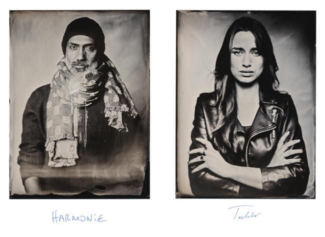 Zwei Portraits eines Mannes und einer Frau im Kollodium-Nassplatten-Verfahren.
