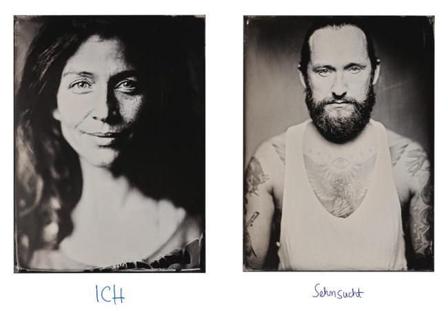 Zwei Portraits einer Frau und eines Mannes im Kollodium-Nassplatten-Verfahren.