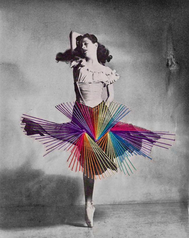 Tänzerin und Stickerei