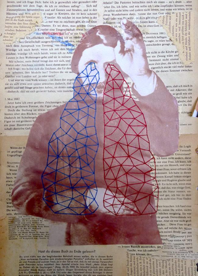 Mann mit roten und blauen Fäden.
