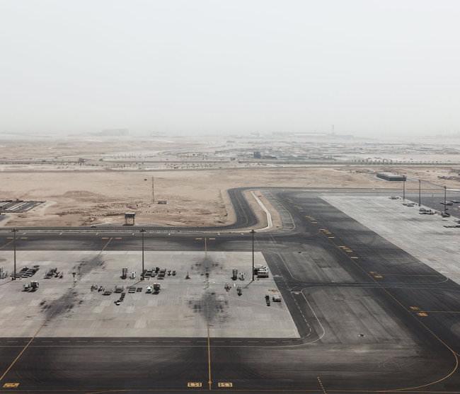 Vogelperspektive auf einen Flugplatz