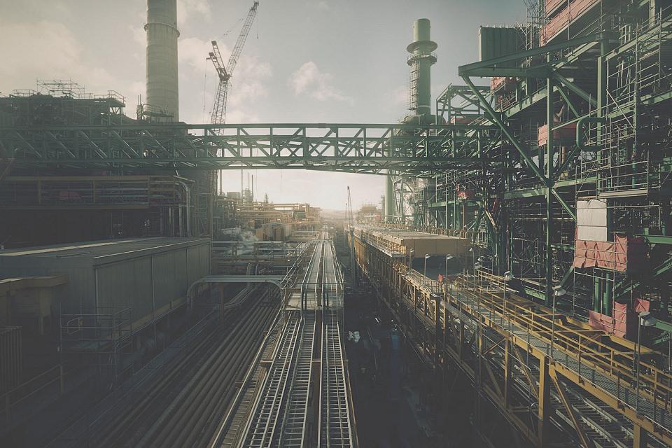 Landschaft einer Industrieanlage.