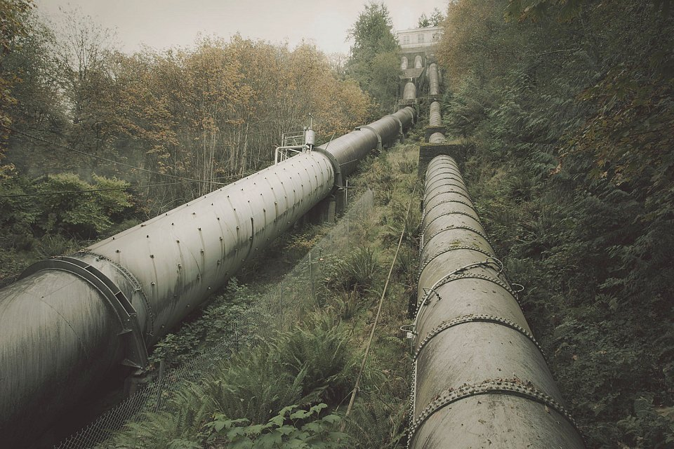 Versorgungsrohre verlaufen durch wilde grüne Landschaft.