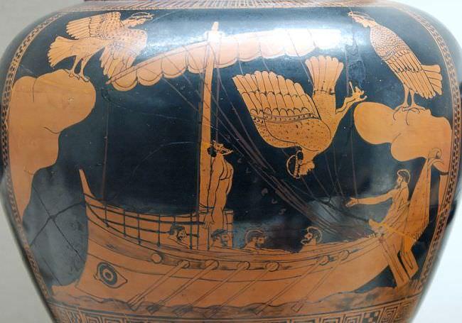 Antike Vase mit Sirenen-Szene aus der Odyssee
