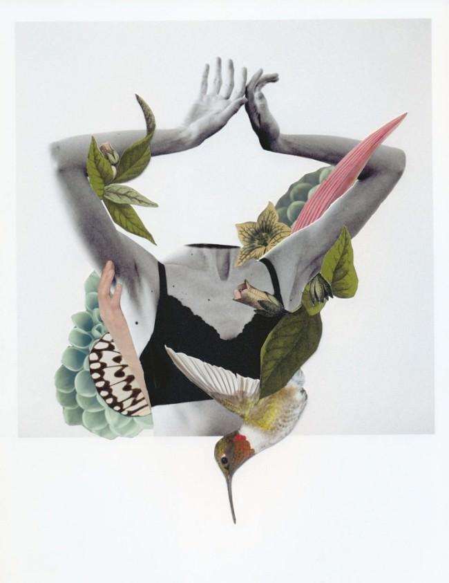 Collage aus einem Rumpf mit Armen, Blättern und einem Kolibri.