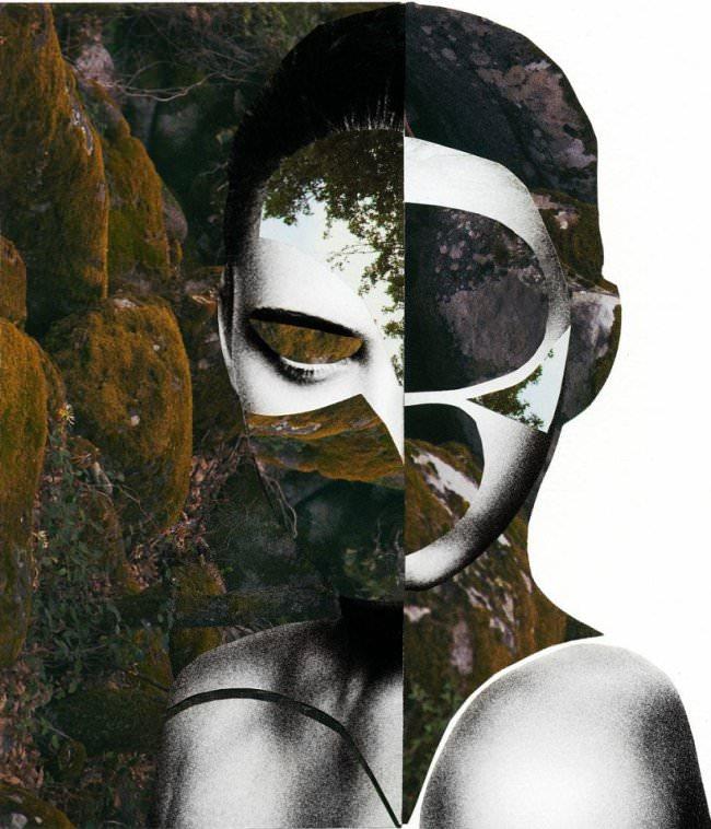 Collage aus einem Frauenportrait und moosbewachsenen Steinen.
