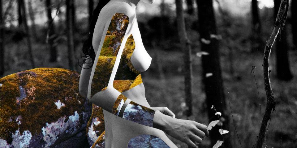 Collage aus einem Frauenkörper und Moos.