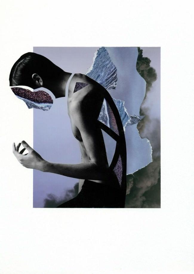 Collage aus einem Männerportrait und blauen Strukturen der Natur.