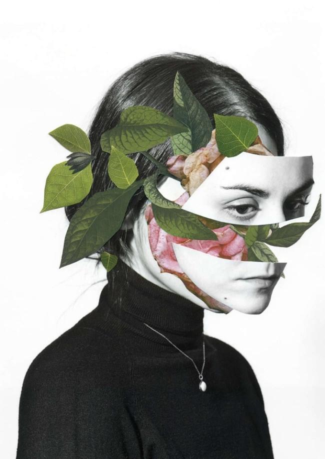 Collage aus einem Frauenportrait und bunten Blättern.