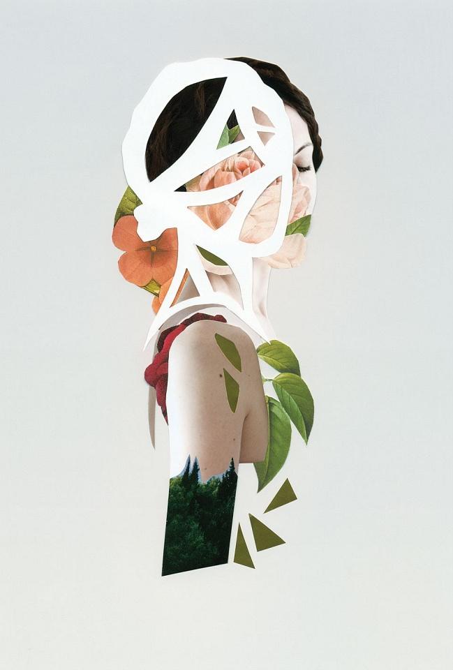 Collage aus einem Frauenportrait und bunten Blättern und Blüten.