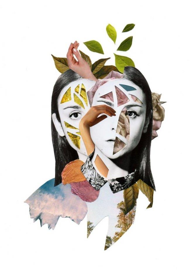 Collage aus zwei Frauenportraits und bunten Blättern.