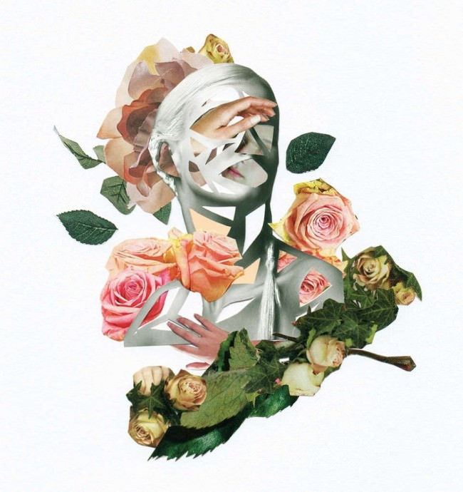 Collage aus einem Portrait sowie bunten Blättern und Blüten.