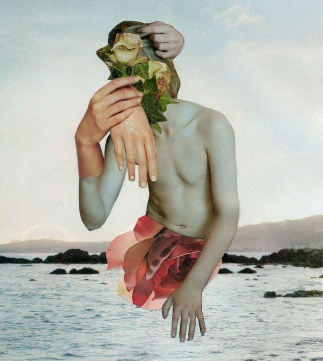 Collage aus einem Rumpf, Armen und Blüten.