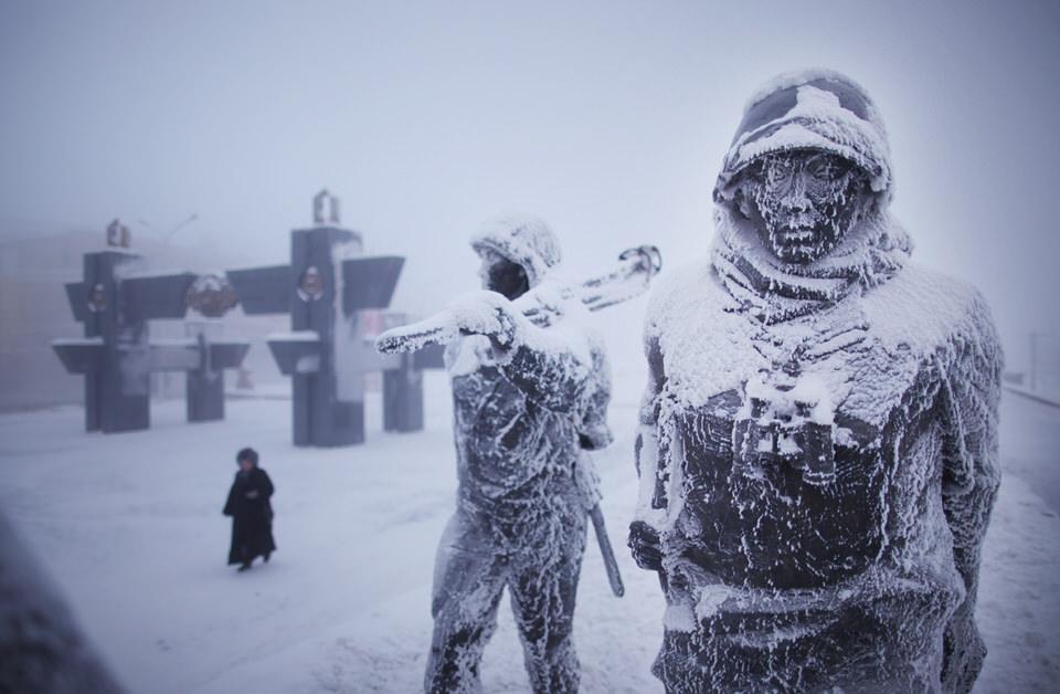 Mit Eis Bedeckte Statuen