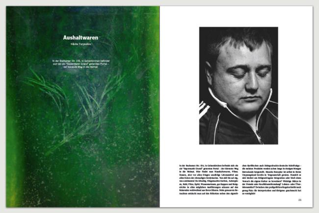 eine exemplarische Doppelseite aus dem ersten emerge Printmagazin