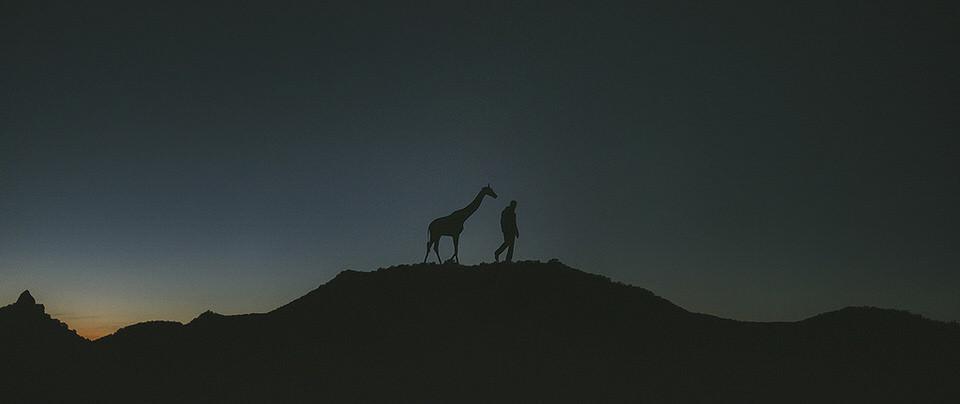 Eine Silhouette eines Mannes und einer Giraffe auf einem Berg.