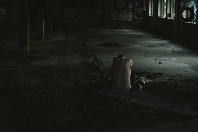 Eine Person mit blankem Rücken