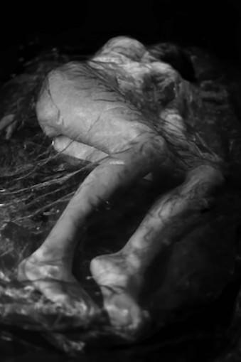 Eine Frau liegt unter Plastik.