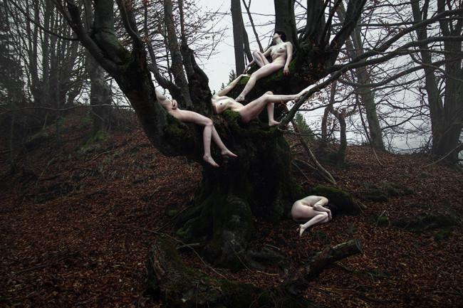 Nackte Frauen liegen und hängen an einem Baum.