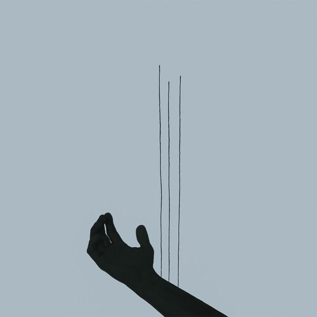 Ein Mensch hängt am seidenen Faden.